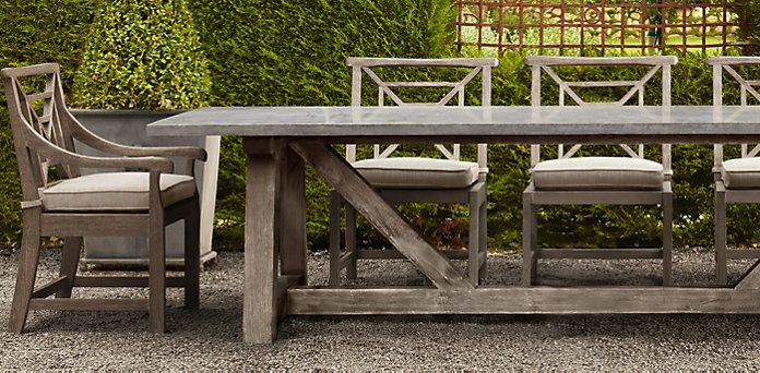 French Beam Weathered Concrete Teak Dining Restoration Hardware
