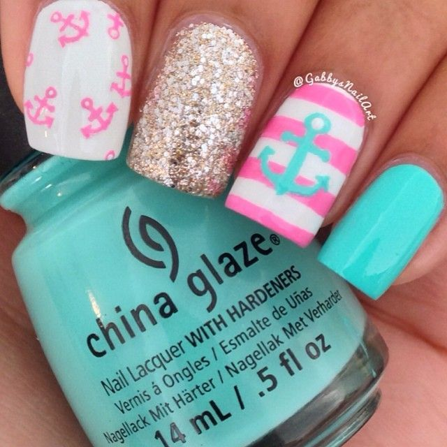 Girly nautical nail art ===== Check out my Etsy store for some - Girly Nautical Nail Art ===== Check Out My Etsy Store For Some