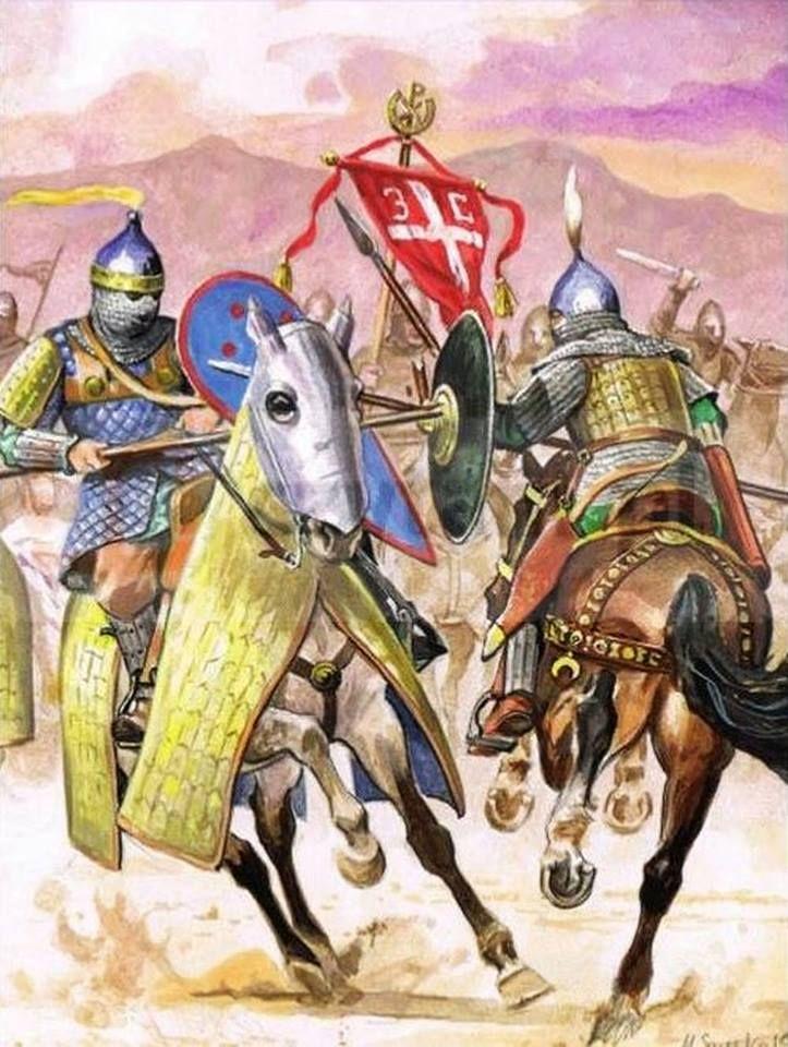 Byzantine cataphract clashes with Seljuk lancer. Likely 13th century.