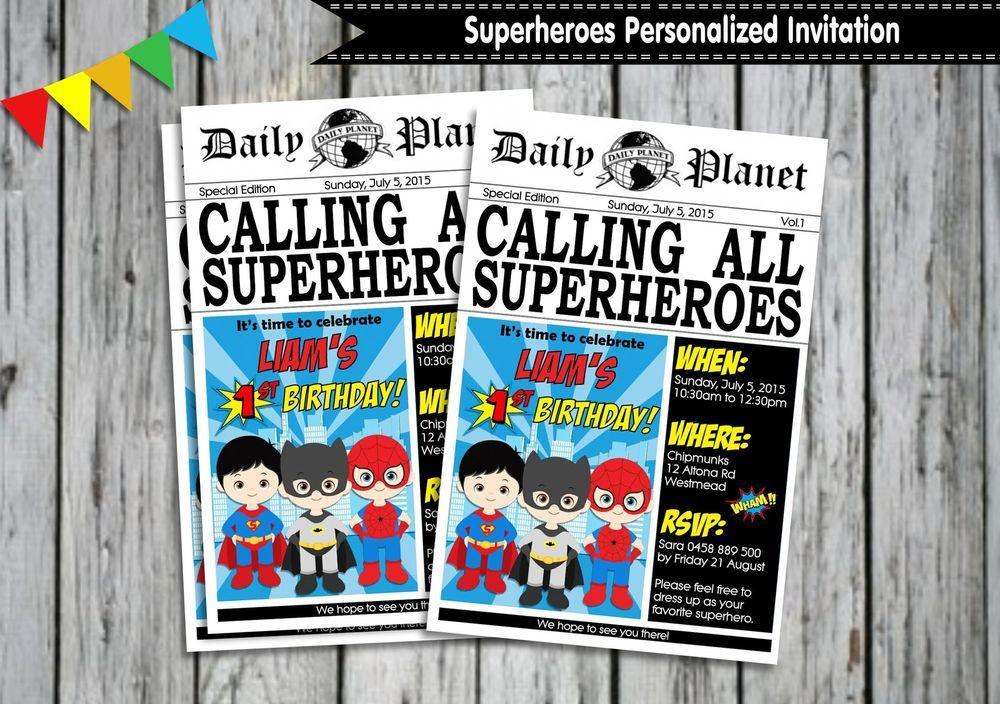 Superhero personalised invitations cards birthday invites batman ...