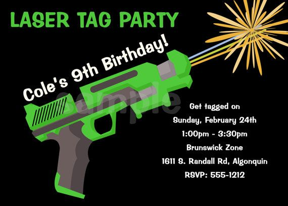 Laser Tag Birthday Invitation Party Invitations Printable Or Printed