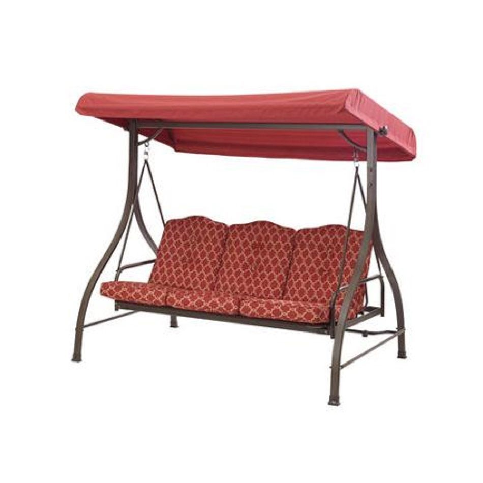 Outdoor Patio Swing 3 Seat Convertible Daybed Red Tan Furniture #Mainstays