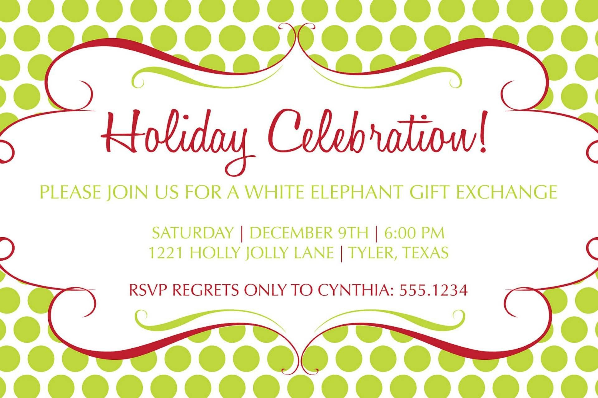 White Elephant Invitation Template Free Beautiful Luncheon Invita ...