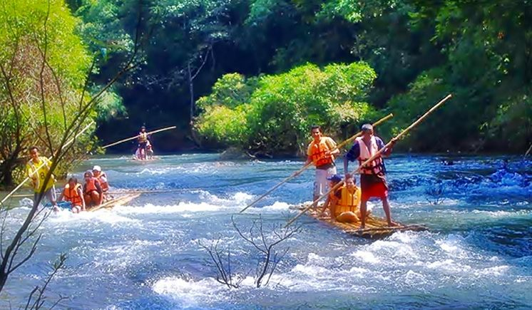 Bamboo Rafting, for Fun and Excitement in the Placid Lake