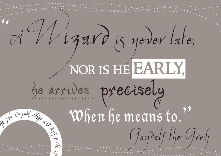 """""""A wizard is never late, not is he early. He arrives precisely when he means to.""""  ~ Gandalf"""