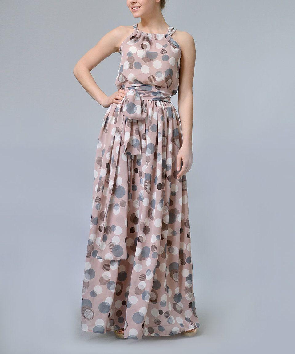 Lila Kass Beige & Pink Polka Dot Maxi Dress & Belt - Plus Too by Lila Kass #zulily #zulilyfinds