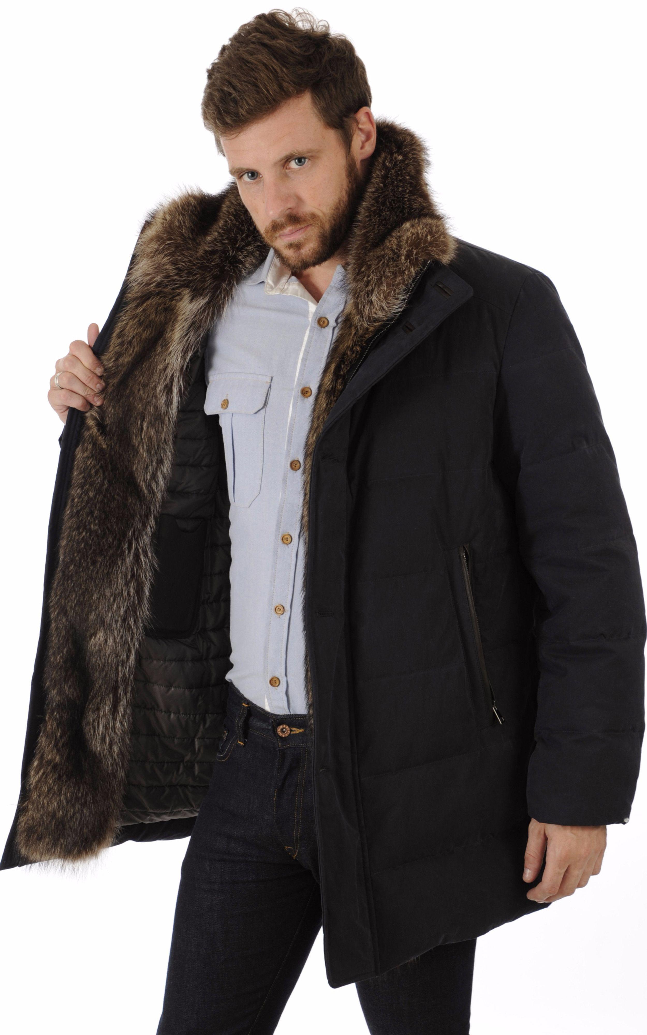 c6af6fafda12e Doudoune Chic Bordée Fourrure Gallotti Masculine Style, Mens Gear, Bleu  Marine, Fur Coats