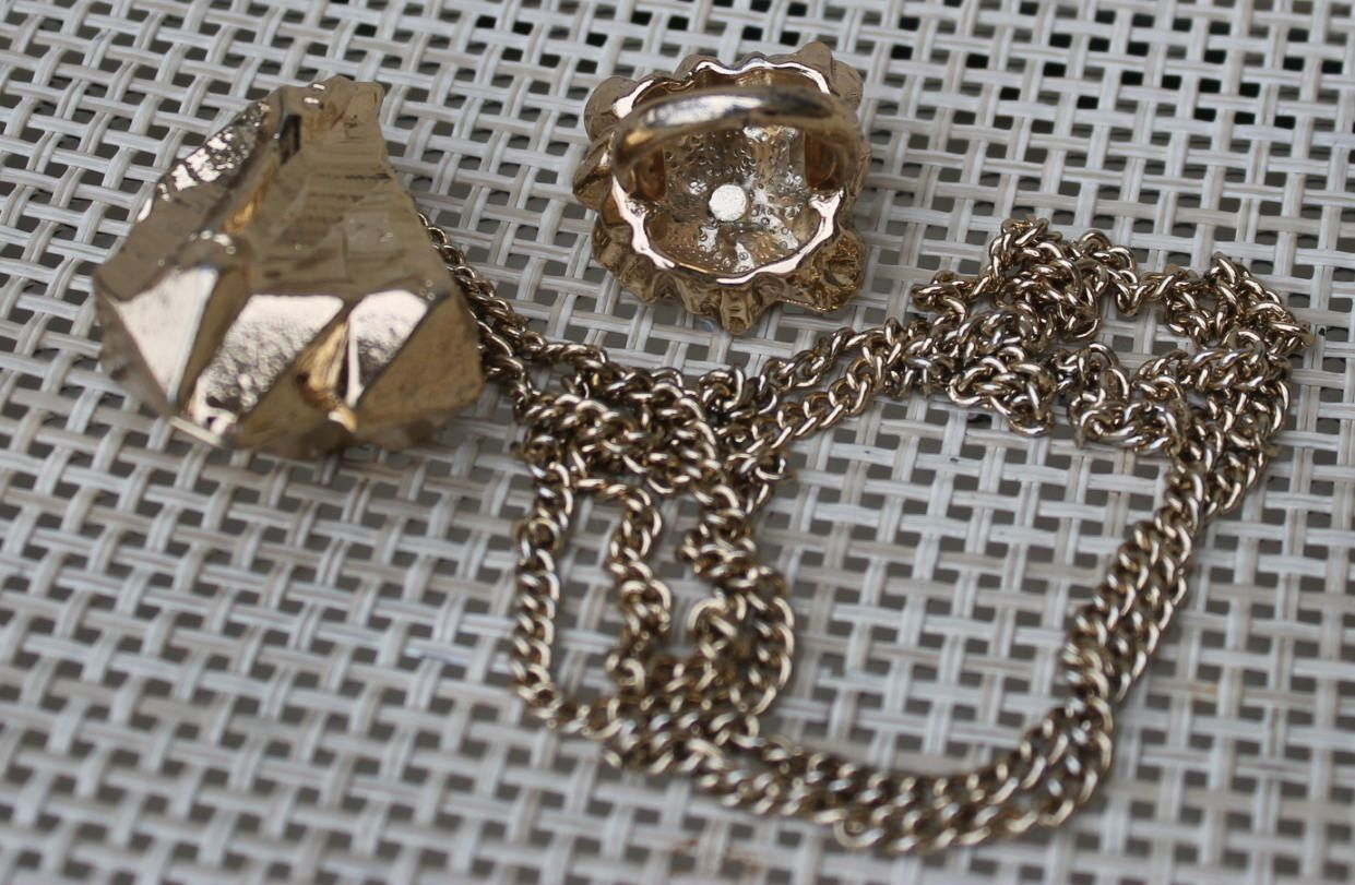 Vintage Fake Gold Nuggets Costume Jewelry Set Necklace and
