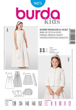 Kommunionkleid burda style Umschlag Cover Fertigschnitte | Kommunion ...