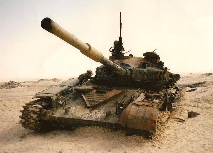 Destroyed Hulk Of Iraqi T 72M At Kuwaiti Threatre Gulf War 1991