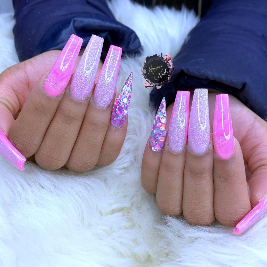 Nyasia Ruiz On Instagram On Wednesdays We Wear Pink Halloweennails Sallybeauty Unasacrilic In 2020 Pink Acrylic Nails Long Acrylic Nails Acrylic Nail Shapes