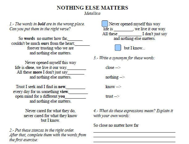 Song Worksheet Nothing Else Matters By Metallica Zapatos Pintados A Mano