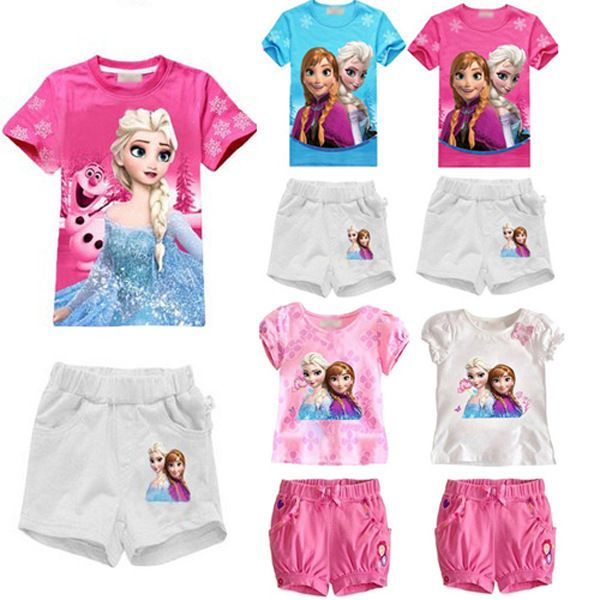 Baby Girls Children Clothing Set Elsa Anna Kids Tracksuit Cartoon T Shirt Tops Pants Summer