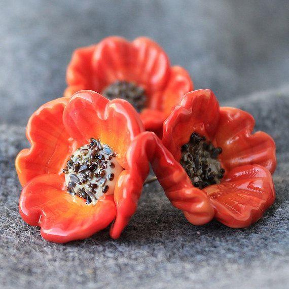 lampwork glass beads poppy handmade beads by