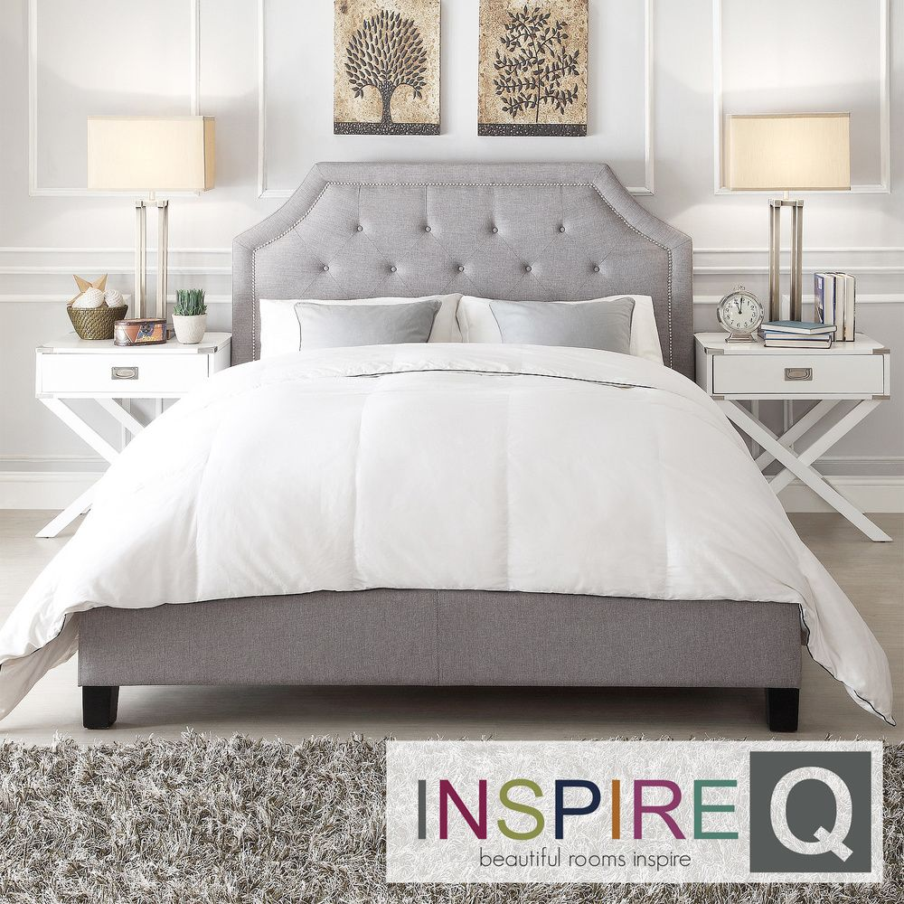 INSPIRE Q Grace Grey Linen Button Tufted Arched Bridge Upholstered Platform  Bed by iNSPIRE Q