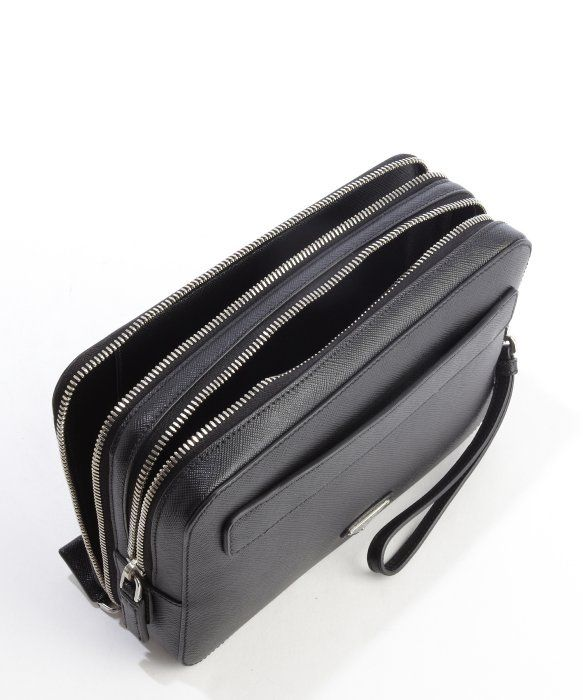 b91f6764d7a Prada Black Saffiano Leather Double Zipper Small Travel Bag in Black for Men  | Lyst