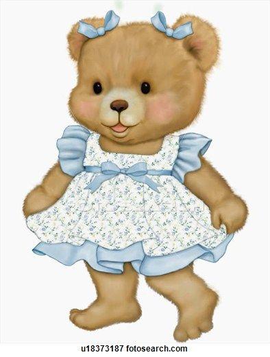 Illustration Of Teddy Bear In Blue Dress Teddy Bear Images Teddy Bear Pictures Teddy Bear Stuffed Animal