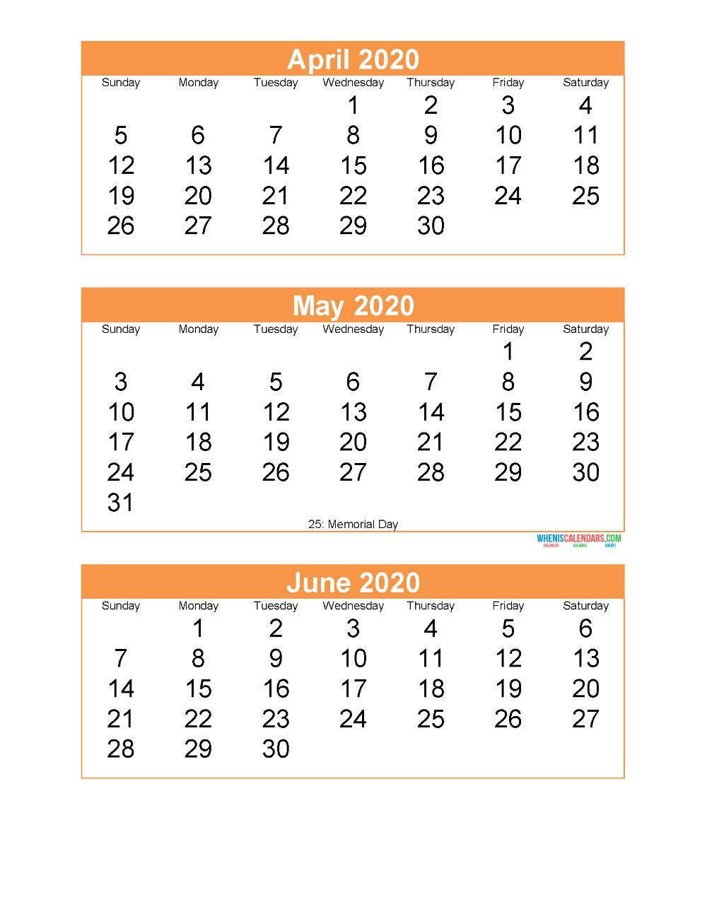 Free Printable 3 Month Calendar 2020 April May June Calendar