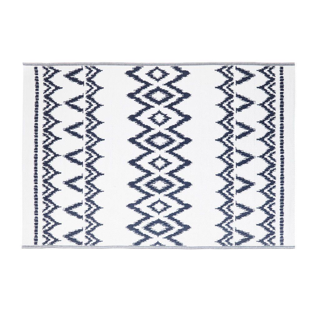 tapis d 39 ext rieur blanc motifs graphiques bleus 180x270. Black Bedroom Furniture Sets. Home Design Ideas