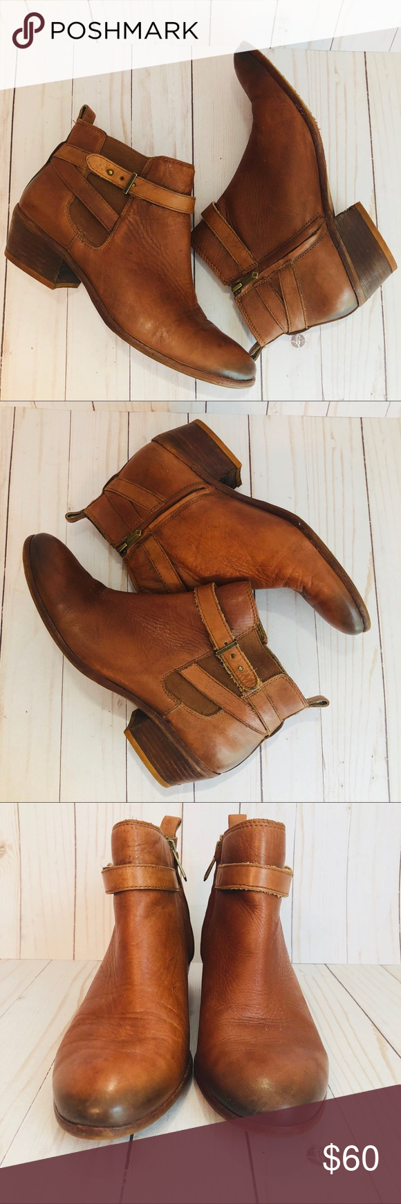 "1e2b76a52b6a Sam Edelman Pacific Wrap Around Booties Sam Edelman Pacific Ankle Boots  Push Stud Wrap Around Detail Inside Zipper Distressed Whiskey Color 1 1 2""  Heel ..."
