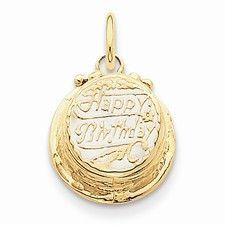 14k Gold with Enamel Birthday Cake with Candle Inside Charm