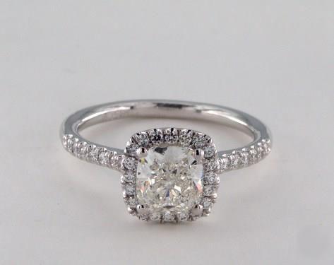 1ct Halo Cushion Engagement Ring Platinum
