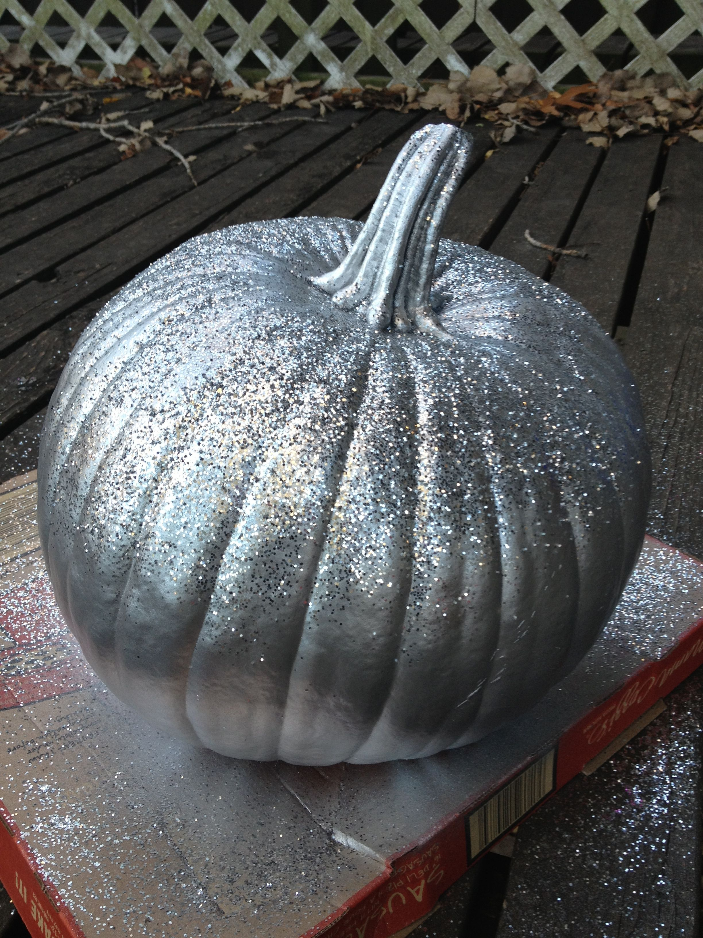 Silver Spray Painted Pumpkin Sprayed With Clear Adhesive And Dusted With Glitter Glitter Pumpkins Silver Spray Paint Painted Pumpkins