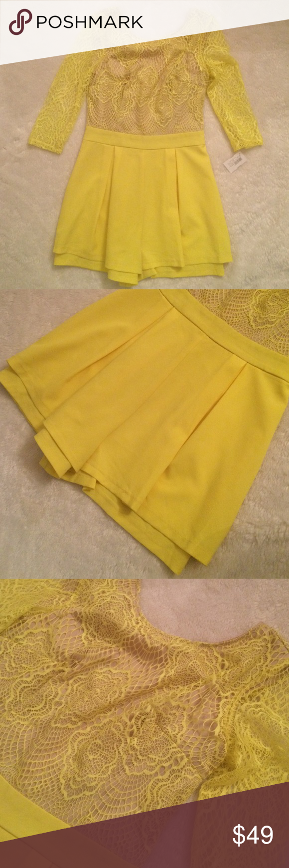 Yellow romper Great condition. Brand new. Yellow lace romper None  Other