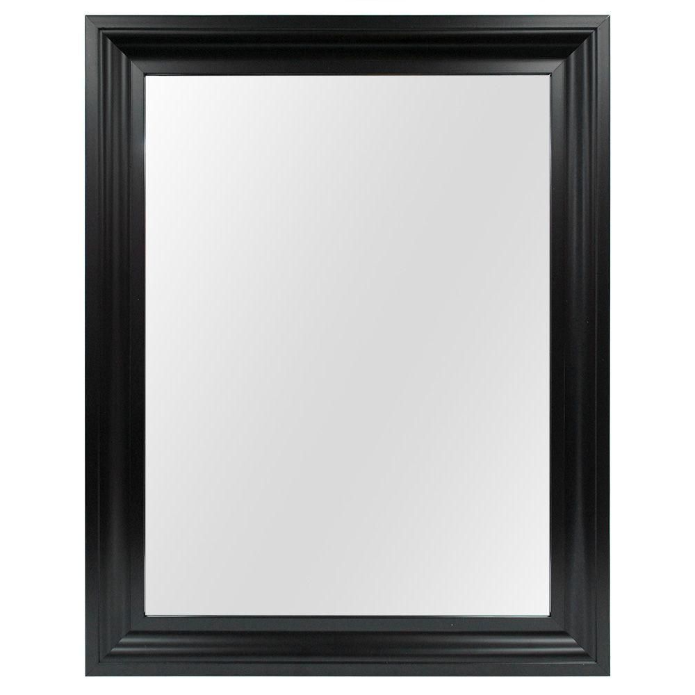 Home Decorators Collection 22 In W X 28 In H Framed Rectangular Anti Fog Bathroom Vanity Mirror In Black Finish 81163 The Home Depot Framed Mirror Wall Mirror Wall Frames On Wall