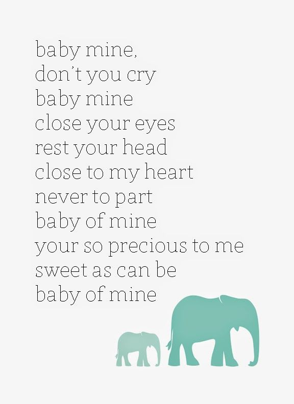 Baby Mine Dumbo Disney Lullaby Free Printable