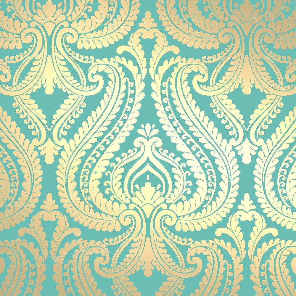 Shimmer Damask Metallic Wallpaper Rich Teal / Gold