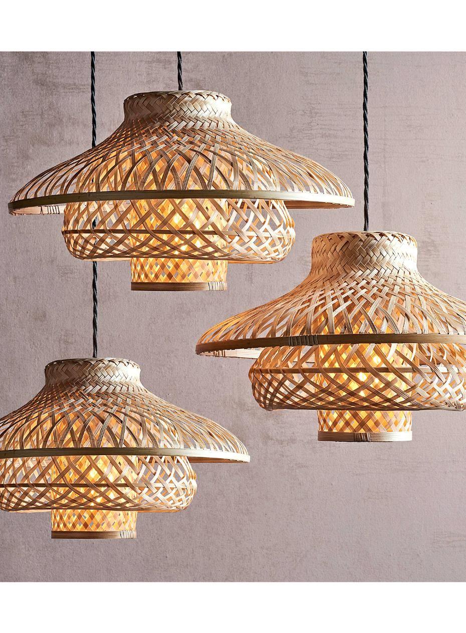 John Lewis Partners Lyssa Easy To Fit Rattan Ceiling Shade Natural At John Lewis Partners In 2020 Ceiling Shades Bamboo Light Bedroom Ceiling Light
