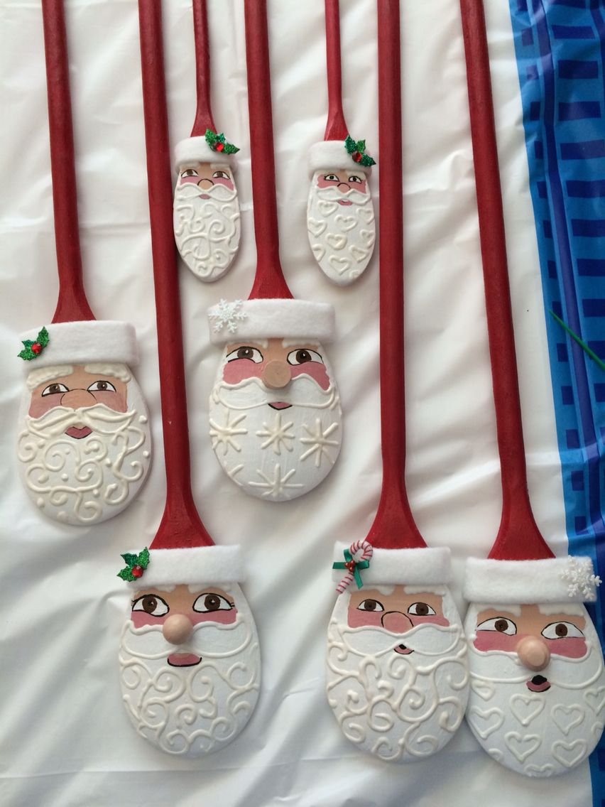 Assorted Wooden Spoon Santas Christmas Crafts Christmas