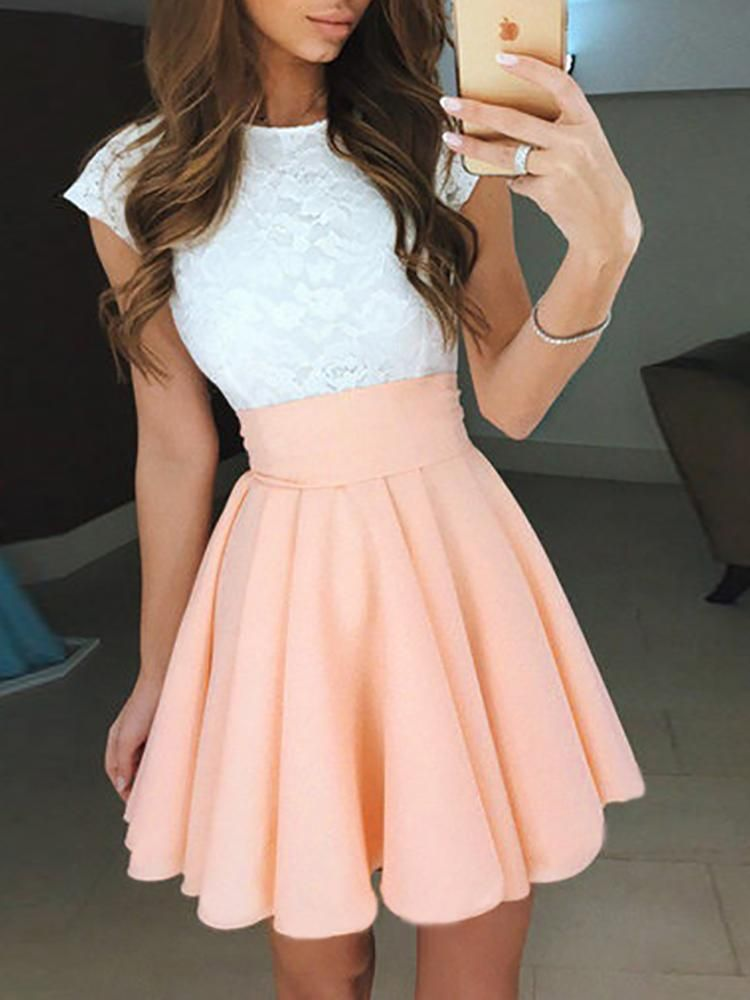 High Waist Lace Dress