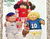 Cabbage Patch Kids Pattern, Butterick 340, Crafts, Clothes for 16 Inch Dolls, Baseball, Football, Cheerleader Outfits, 1984 Uncut, 3-oz