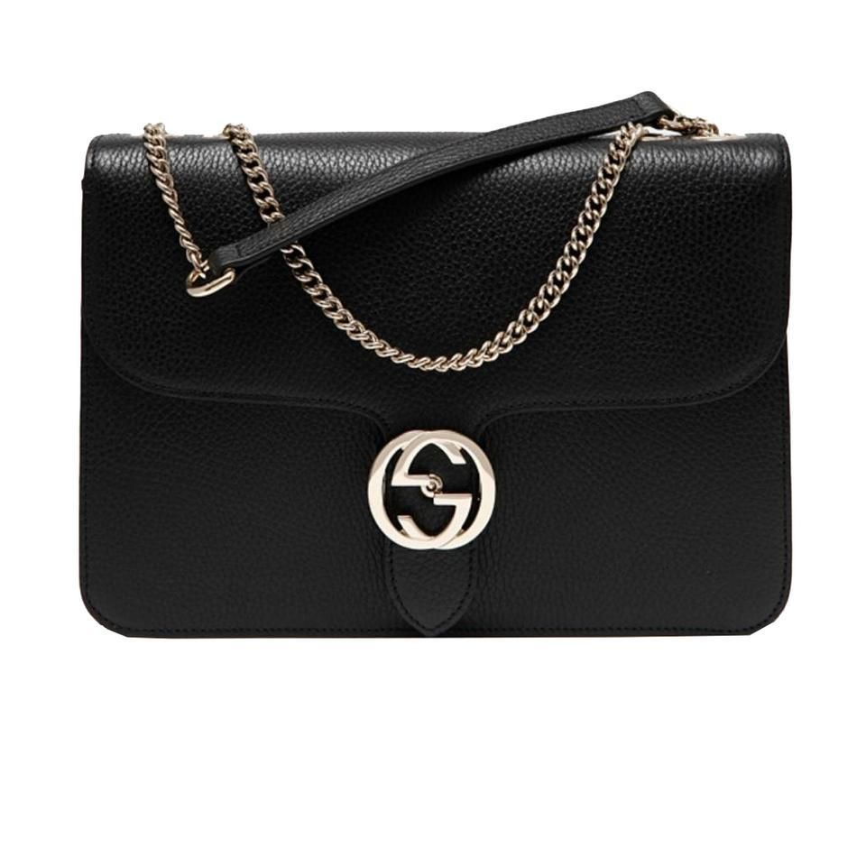 b1bd16bfb5e4 Gucci Black Leather Marmont Interlocking GG Crossbody Bag in 2019 ...