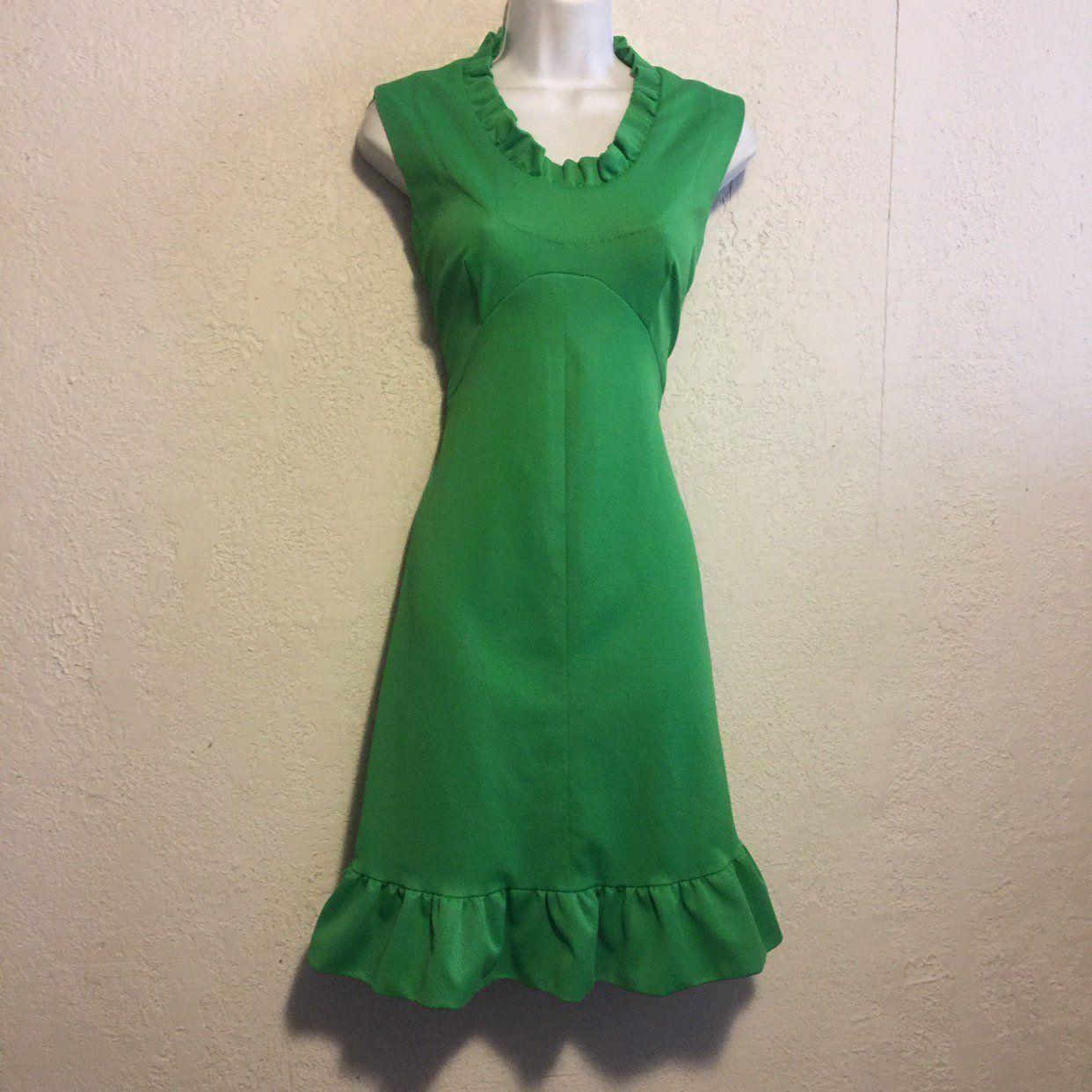 Bright Lime Green Vintage Ruffled Dress Etsy Ruffle Dress Dresses Halter Party Dress [ 1242 x 1242 Pixel ]