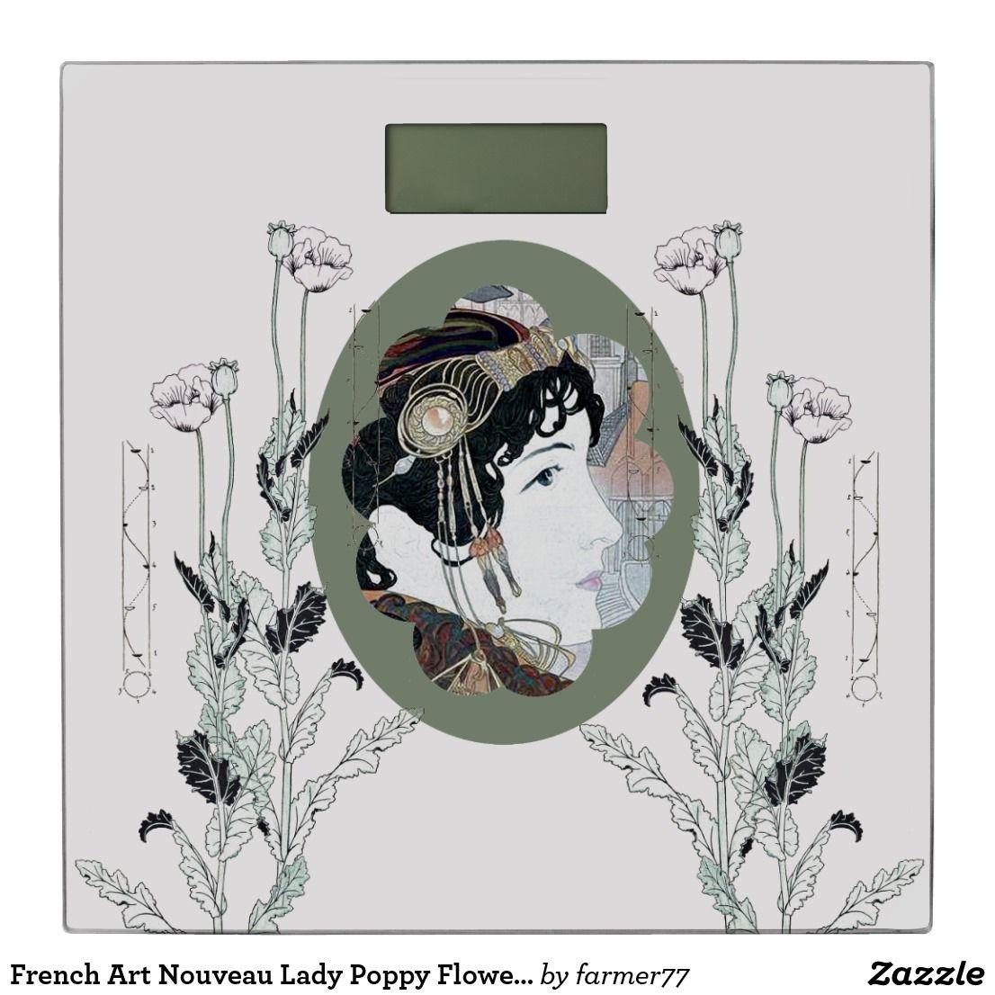 French Art Nouveau Lady Poppy Flowers Bathroom Scale ...