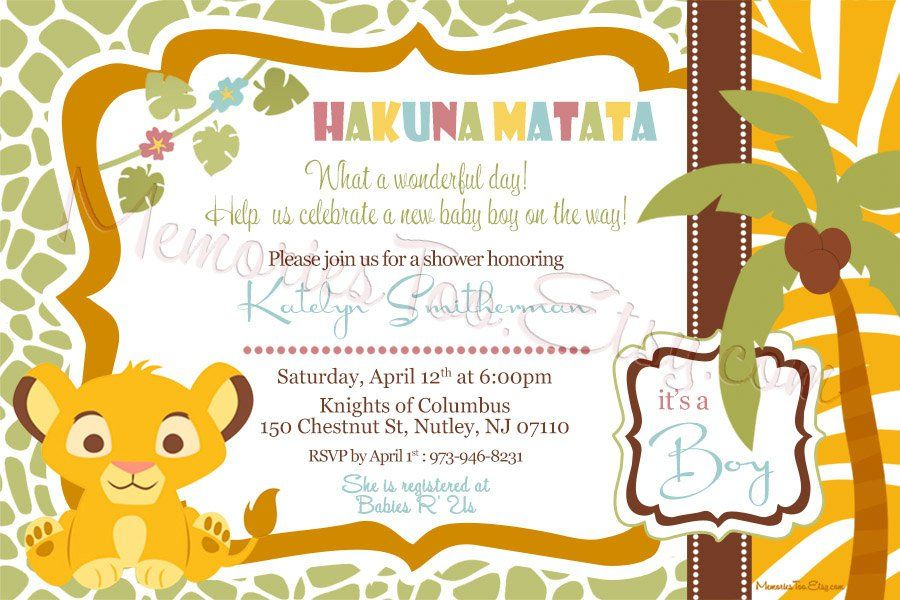 Lion King Baby Shower Invitations | Baby Shower Invitations | Baby ...