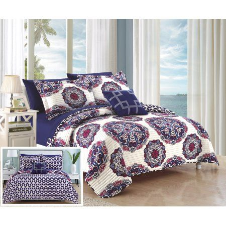 Chic Home 4 Piece Miranda Super soft microfiber Large Printed Medallion Reversible with Geometric Printed Backing Full/Queen Quilt Set Navy