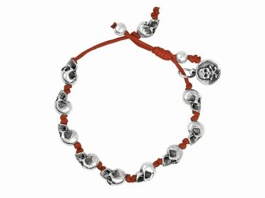 f9e60a4fb02e4 Red Knotted Cord #Bracelet with Small #Silver #Skulls KING BABY ...