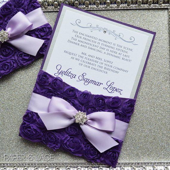 Purple Rosette Quince Invitation - Purple and Silver Swarovski ...