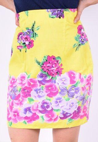 Versace+Womens+Vintage+Skirt+Size+8+Multi+Floral+90's