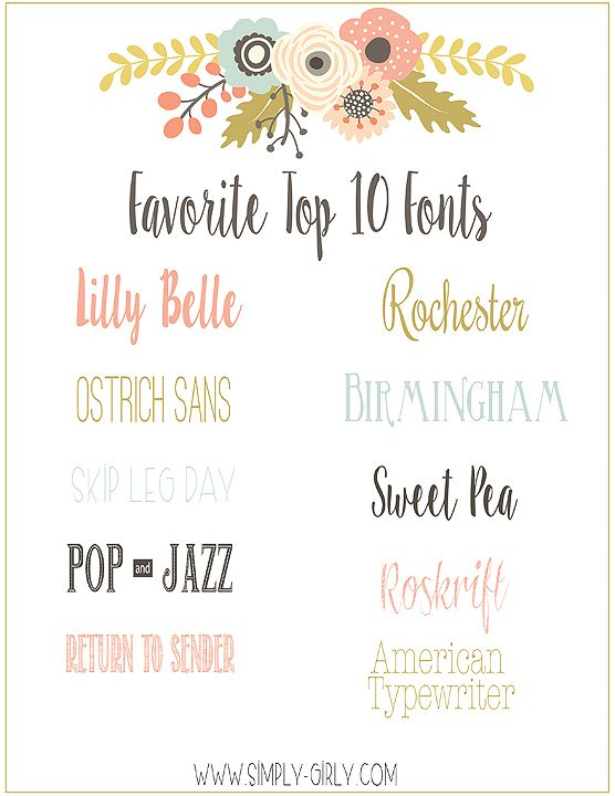 Simply Girly: Favorite Fonts