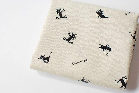 Cat canvas fabric | Japanese CoCoLand black & white cotton oxford, whimsical black and grey with stripes, small print novelty fabric