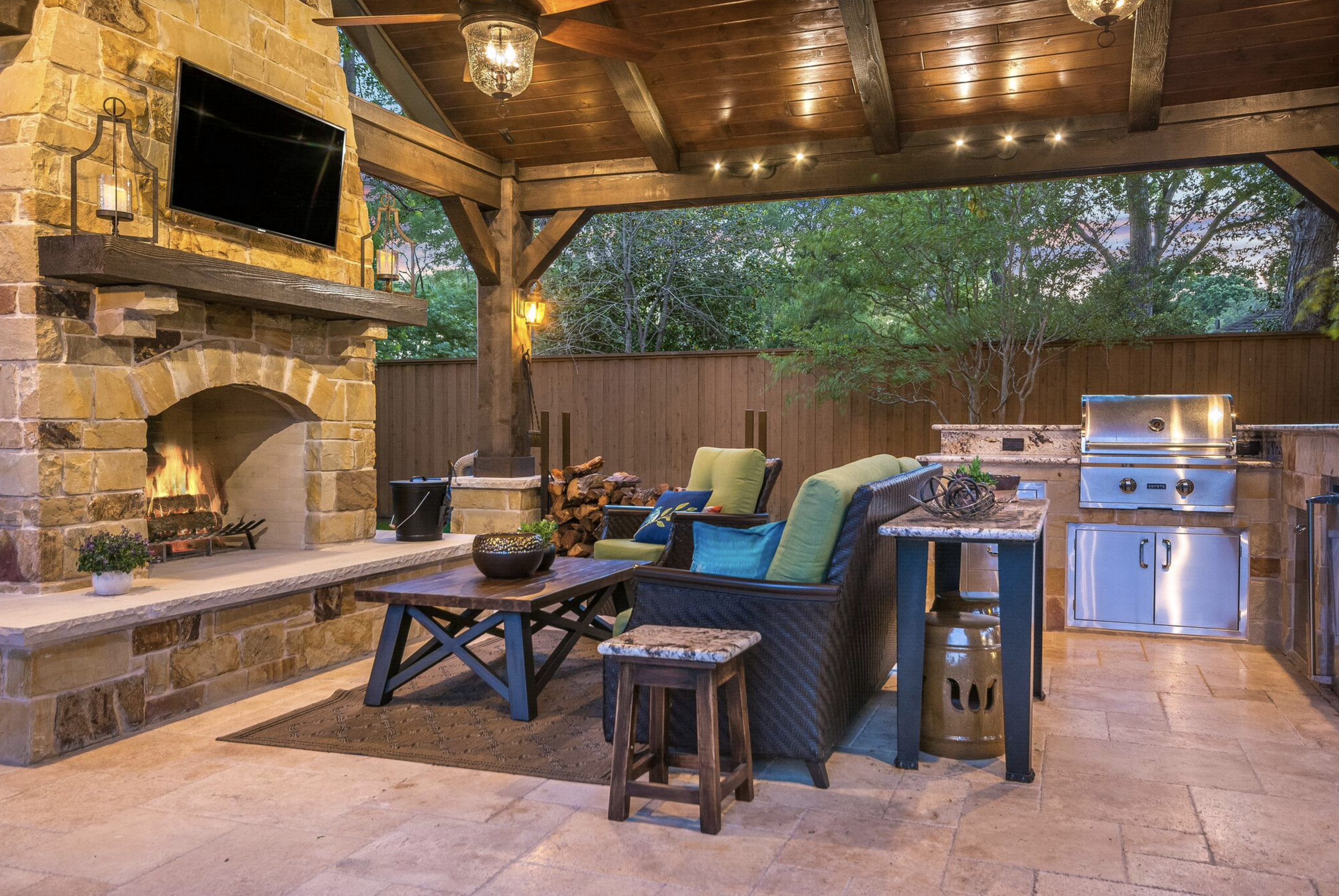 Rustic Outdoor Living Space With Outdoor Kitchen By Texas Custom Patios Outdoor Remodel Outdoor Covered Patio Outdoor Fireplace Plans