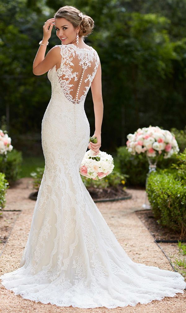 e4d1830219d Modest Tulle V-neck Neckline Mermaid Wedding Dresses With Lace Appliques