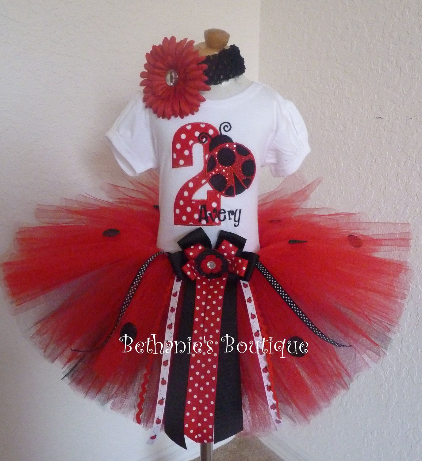 Birthday Ladybug Tutu Set. Red Sparkle- Polka Dots-Number