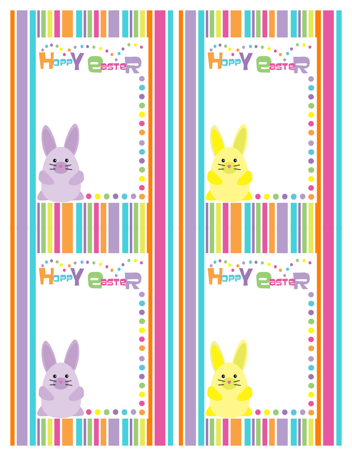 Bunny Stripe Hoppy Easter Cards
