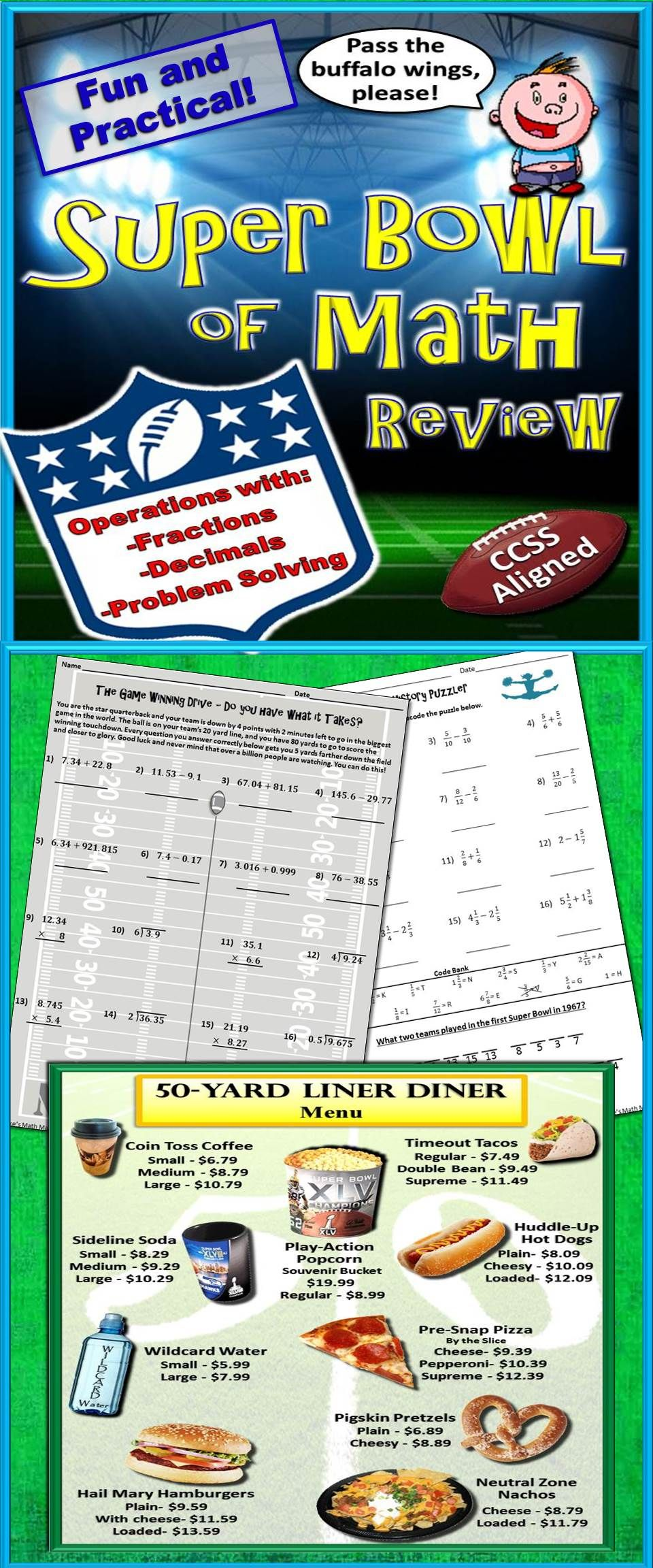 Super Bowl Themed Math Review Packet Ccss Aligned Math Review Math Math Manipulatives [ 2304 x 960 Pixel ]